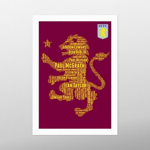 Aston Villa Legends | wordbird.ie | Word Art Print