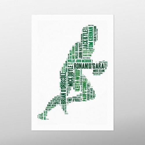 Rugby Player - Ireland's Greatest | wordbird.ie | Word Art Print