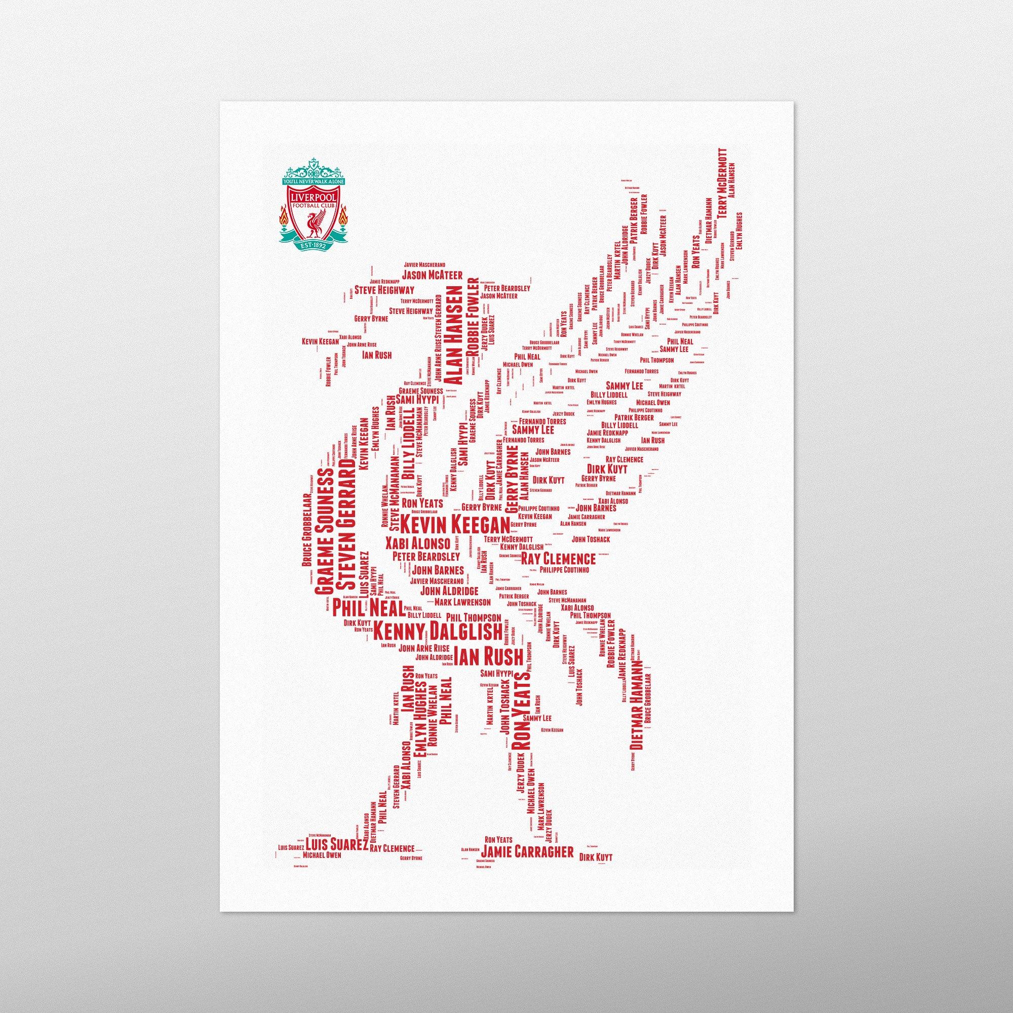 Liverpool Legends | wordbird.ie | Word Art Print