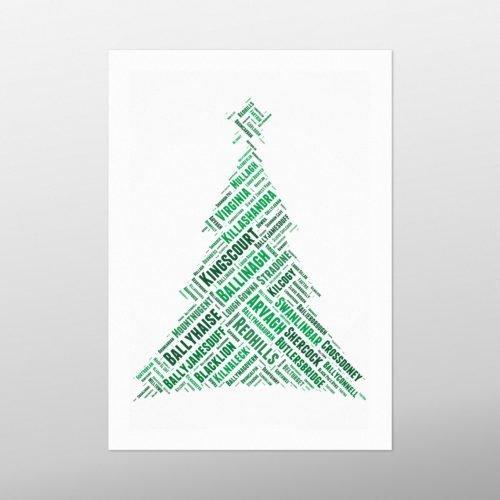 Christmas Tree | Cavan | wordbird.ie | Word Art Print