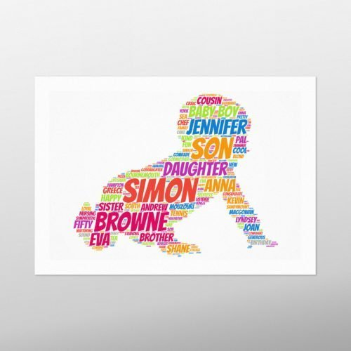 Crawling Baby | wordbird.ie | Picture Made Out Of Words