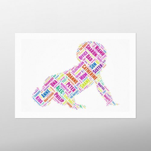 Crawling Baby | wordbird.ie | Word Art Prints