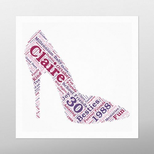 Stiletto Heel | wordbird.ie | Birthday Gift | Word Art Examples