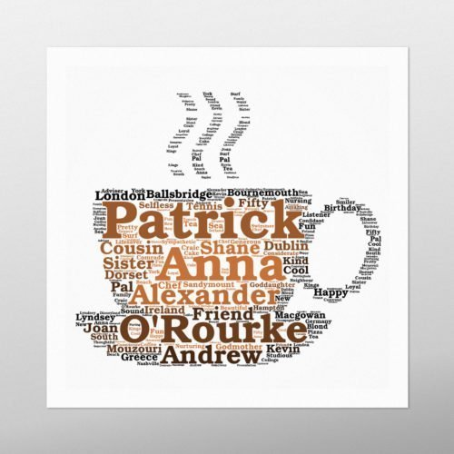 Tea Cup | wordbird.ie | Birthday Gift | Word Art Examples