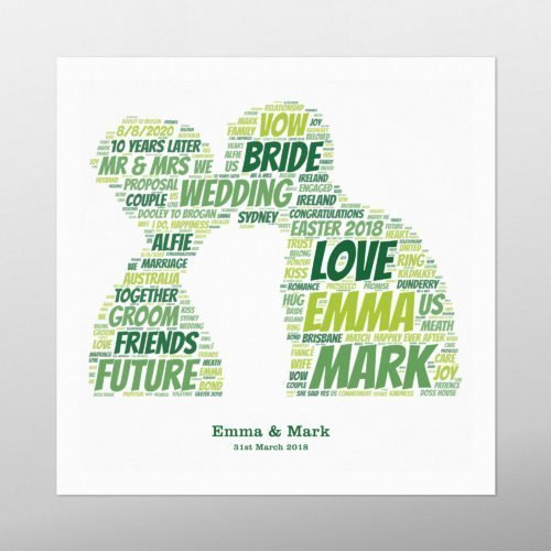 Couple Kissing | wordbird.ie | Word Art Prints