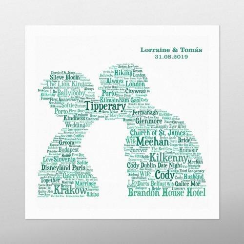 Couple Kissing | wordbird.ie | Word Art Prints
