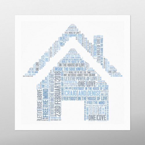 House with Roof | Wordbird.ie | Picture Made Out Of Words