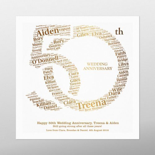 50th Anniversary | wordbird.ie | Irish Word Art Prints