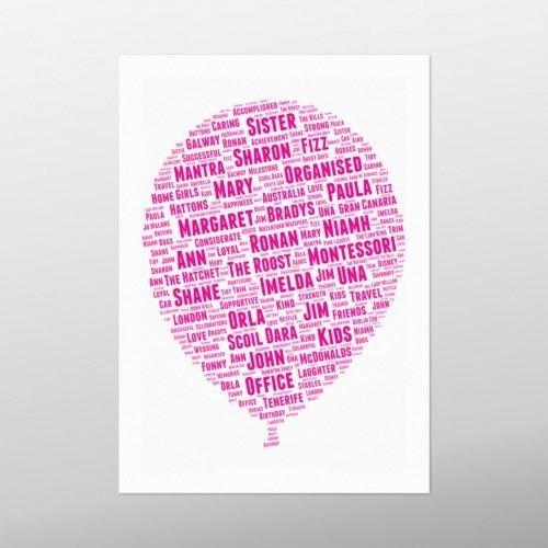 Balloon | wordbird.ie | Birthday Gift | Word Art Examples