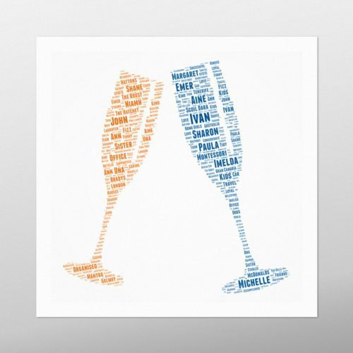 Champagne Glasses | Wordbird.ie | Word Art Prints | Word Clouds