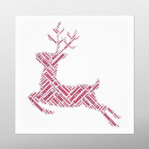 Christmas Reindeer | wordbird.ie | Word Art Print