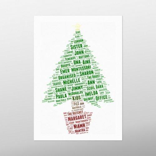 Christmas Tree in Base | wordbird.ie | Word Art Print