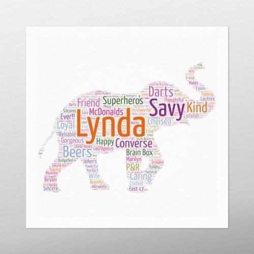 Elephant Walking | wordbird.ie | Word Art Prints & Artworks