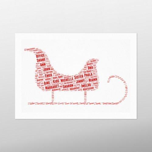 Santa Sleigh | wordbird.ie | Word Art Posters