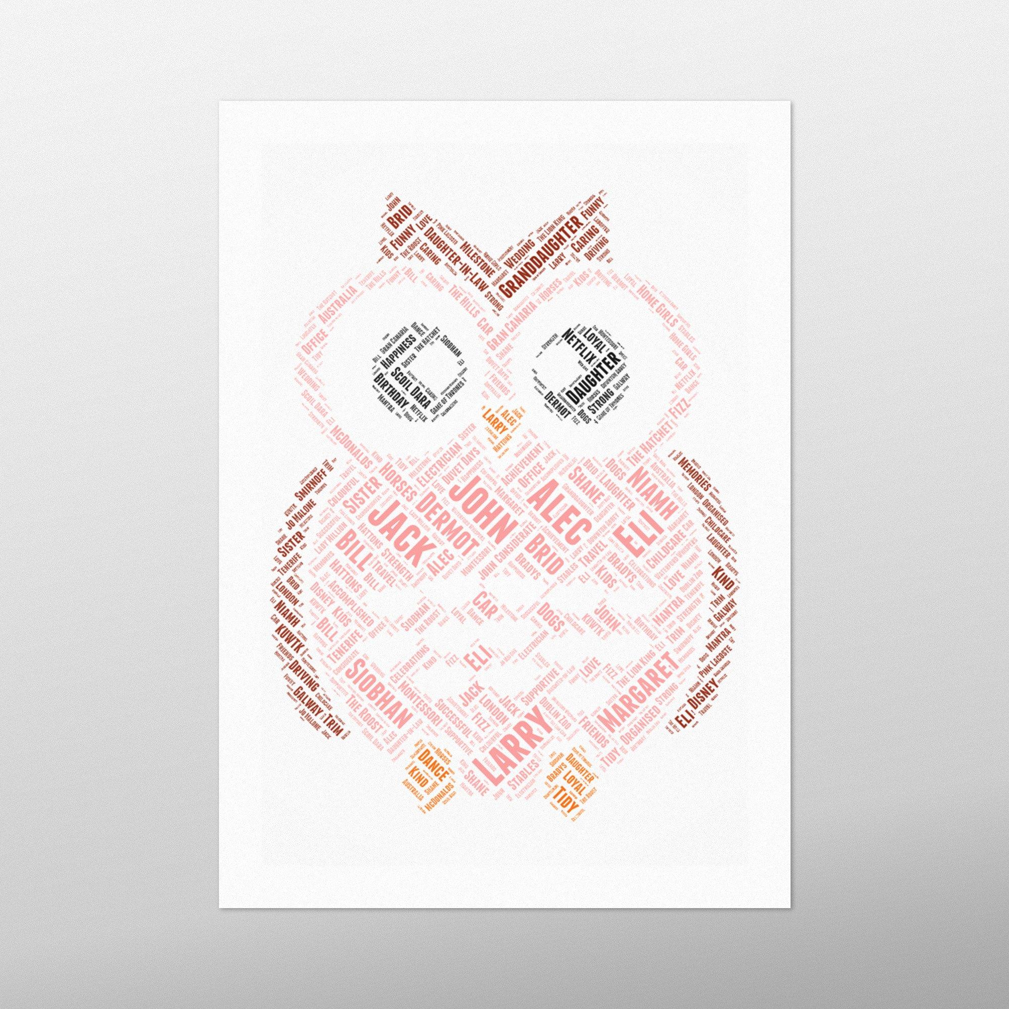 Wide Owl | wordbird.ie | Word Art Prints