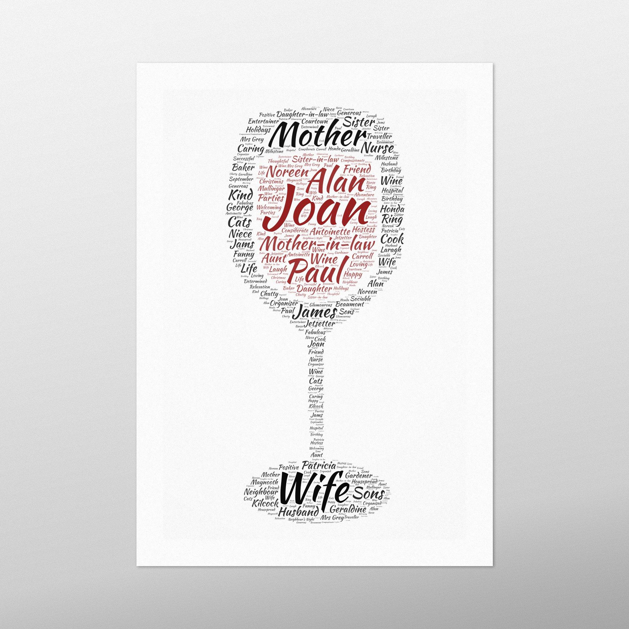 Wine Glass | Wordbird.ie | Word Art Prints | Word Clouds